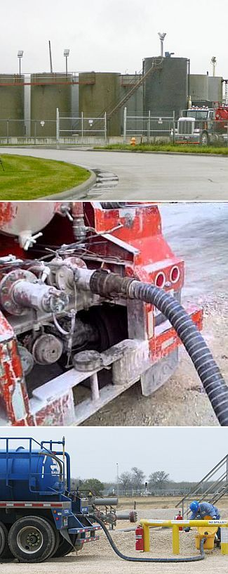 Top: tanks for oil and wastewater; Middle: tanker hoses are connected for loading; Bottom: checking connections